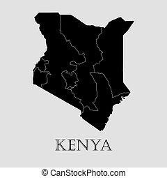 地図, -, イラスト, ベクトル, 黒, kenya