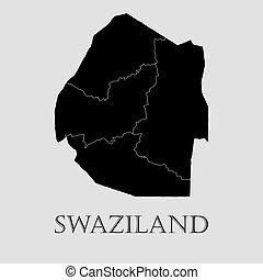 地図, -, イラスト, ベクトル, 黒, swaziland