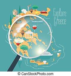 地図, イラスト, 要素, ベクトル, デザイン, ギリシャ