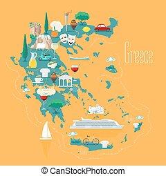 地図, イラスト, 要素, ベクトル, デザイン, ギリシャ, 島