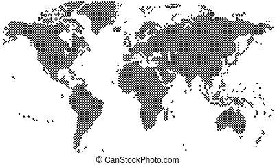地図, イラスト, halftone, ベクトル, 黒, 世界