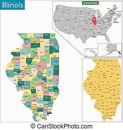 地図, イリノイ