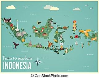 地図, インドネシア人, 動物, ランドマーク
