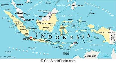 地図, インドネシア, 政治的である