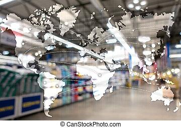 地図, エクスポート, 世界的である, partnership., concept., 輸入, ロジスティクス