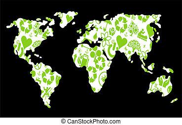 地図, エコロジー, アイコン, eco, 作られた, 世界