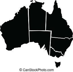 地図, オーストラリア, ずんぐりしている