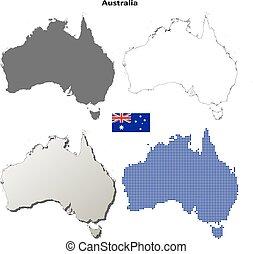 地図, オーストラリア, セット, アウトライン
