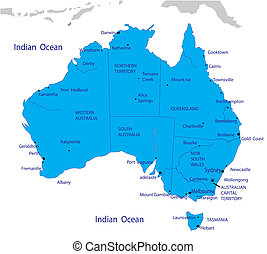 地図, オーストラリア, 政治的である