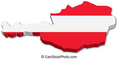 地図, オーストリアの旗, 3d