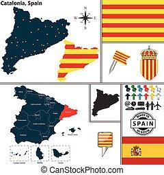 地図, カタロニア, スペイン