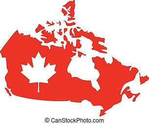 地図, カナダ, かえで 葉