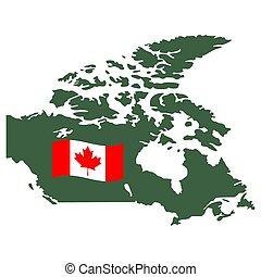 地図, カナダ, 隔離された, 白, ベクトル