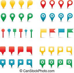 地図, カラフルである, pins.