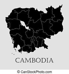 地図, -, カンボジア, ベクトル, 黒, イラスト