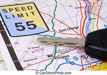 地図, キー, 自動車