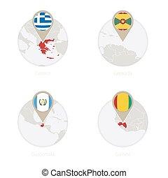 地図, ギニーフラグ, guatemala, ギリシャ, circle., グレナダ