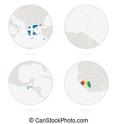 地図, ギニー, 国民, 輪郭, 旗, guatemala, ギリシャ, circle., グレナダ