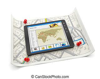 地図, クローズアップ, タブレット, 地図, サイト, pc, 様々, 背景, オンラインで, 白, 都市, ...