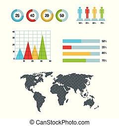 地図, グラフ, パイ・チャート, infographic, 世界