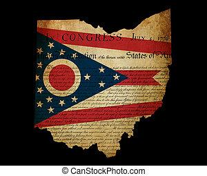 地図, グランジ, アウトライン, アメリカ, 上塗り, 宣言, 州, 効果, 旗, 挿入, アメリカ人, オハイオ州...