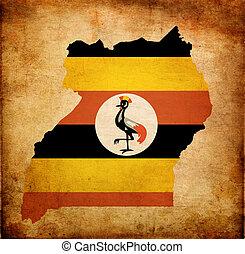 地図, グランジ, アウトライン, 効果, 旗, ペーパー, ウガンダ