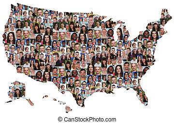地図, グループ, アメリカ, 人々, multicultural, 若い, 統合, 多様性