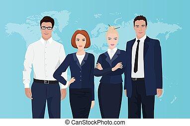 地図, グループ, ビジネス, バックグラウンド。, 専門家, チーム 肖像画, 世界, 幸せ