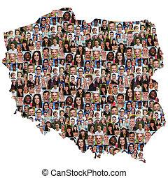 地図, グループ, 人々, ポーランド, multicultural, 若い, 統合, 多様性