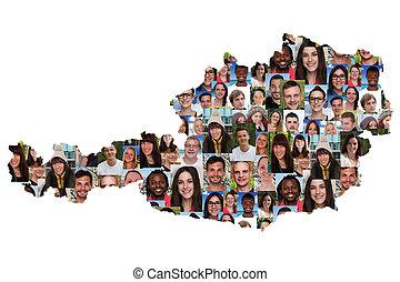 地図, グループ, 人々, multicultural, 統合, 若い, オーストリア, 多様性