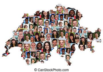 地図, グループ, 人々, multicultural, 統合, 若い, スイス, 多様性