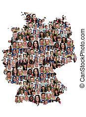 地図, グループ, 人々, multicultural, 統合, 若い, ドイツ, 多様性