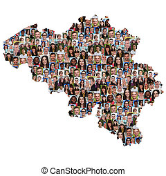 地図, グループ, 人々, multicultural, 統合, 若い, ベルギー, 多様性
