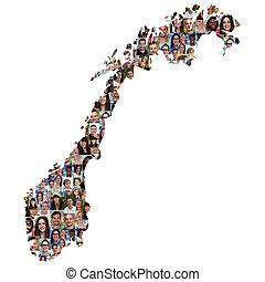 地図, グループ, 人々, multicultural, 統合, 若い, 多様性, ノルウェー