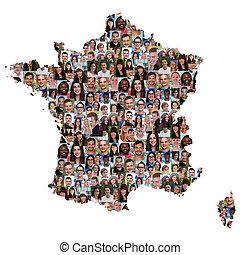 地図, グループ, 人々, multicultural, 若い, フランス, 多様性, 統合