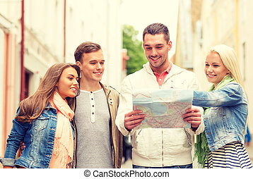地図, グループ, 都市, 微笑, 友人, 探検