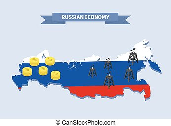 地図, コイン。, オイル, 資源, illustration., デリック, お金, 経済学, ベクトル, ロシア人, ロシア