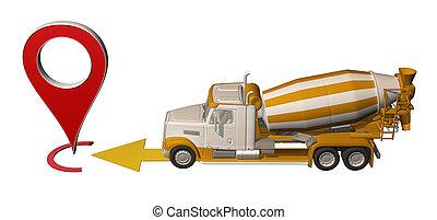 地図, コンクリート, ピン, ミキサー, 行く, トラック