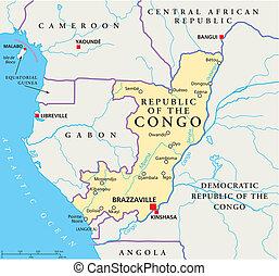 地図, コンゴ, 政治的である, 共和国