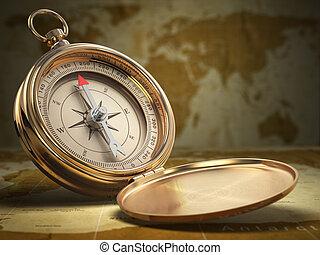 地図, コンパス, バックグラウンド。, 世界, navigation.