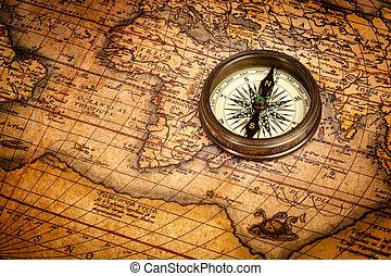 地図, コンパス, 古代, 古い, 型