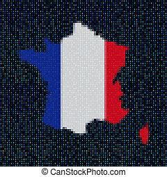 地図, コード, ジンクス, イラスト, フランスの旗