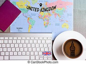 地図, コーヒー, 概念, 旅行, 旗, 休日