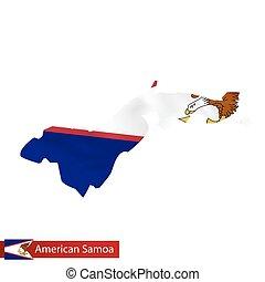 地図, サモア, country., アメリカ人, 揺れている旗