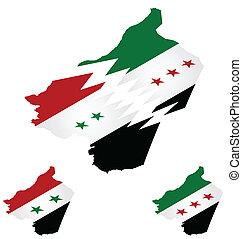 地図, シリア人, 等大, 旗