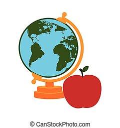 地図, シルエット, アップル, カラフルである, 世界