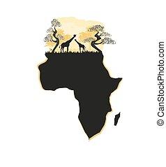 地図, シルエット, サファリ, アフリカ