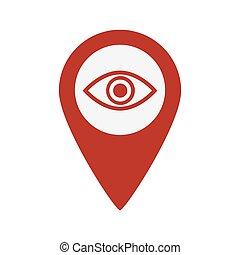 地図, シンボル, 目, icon., ピン