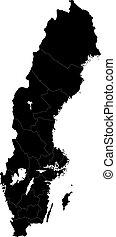 地図, スウェーデン, 黒