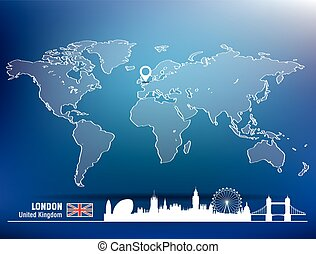 地図, スカイライン, ロンドン, ピン